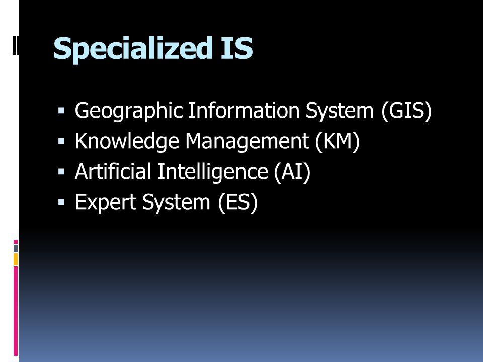 Specialized IS Geographic Information System (GIS)