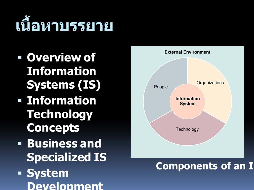 เนื้อหาบรรยาย Overview of Information Systems (IS)