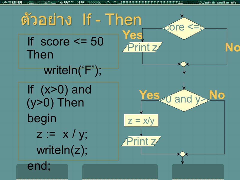 ตัวอย่าง If - Then Yes No If score <= 50 Then writeln('F');