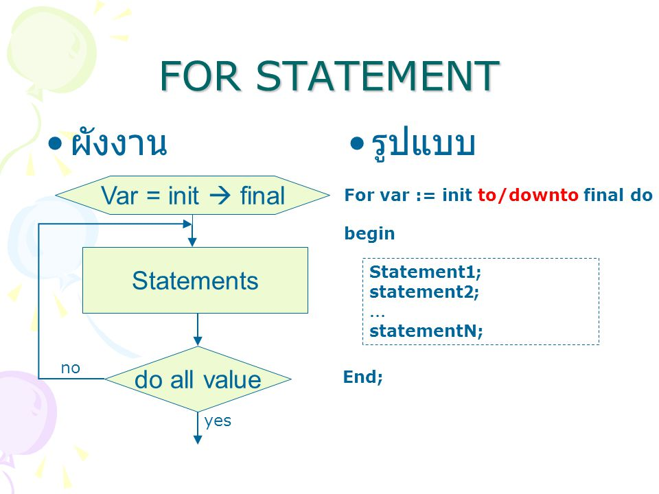 FOR STATEMENT ผังงาน รูปแบบ Var = init  final Statements do all value