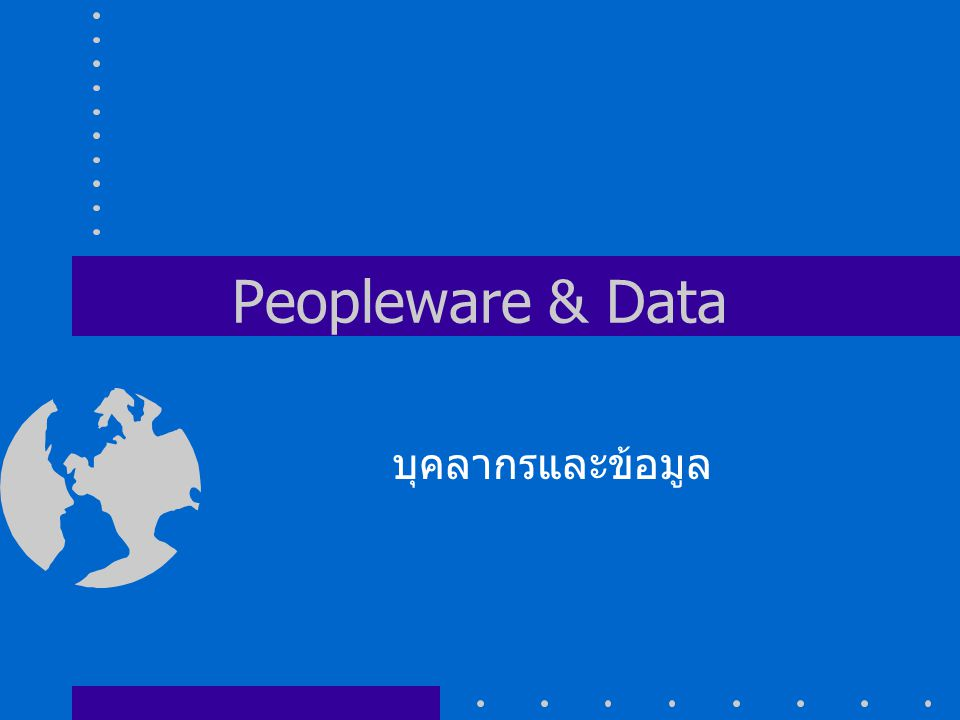 Peopleware & Data บุคลากรและข้อมูล