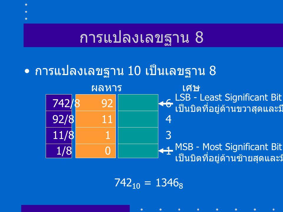 การแปลงเลขฐาน 8 การแปลงเลขฐาน 10 เป็นเลขฐาน 8 ผลหาร เศษ 742/8 92 6
