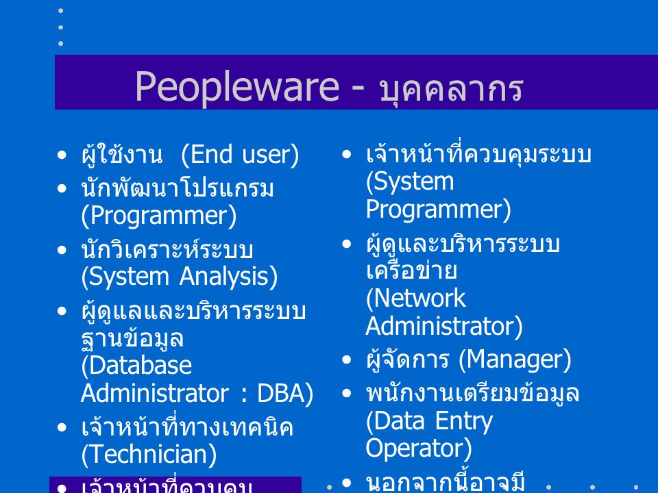 Peopleware - บุคคลากร ผู้ใช้งาน (End user)