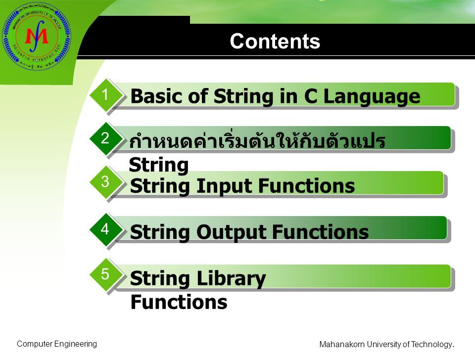 Contents Basic of String in C Language