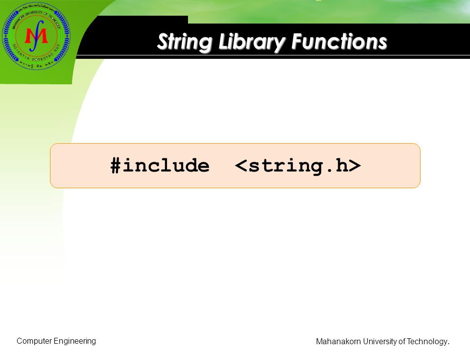 String Library Functions