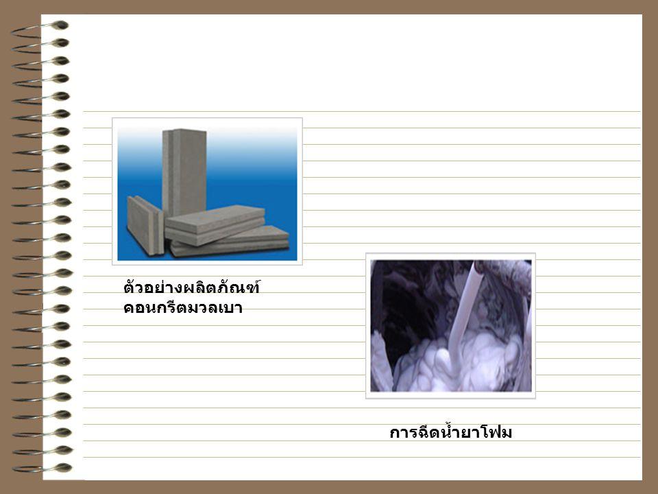 ตัวอย่างผลิตภัณฑ์คอนกรีตมวลเบา