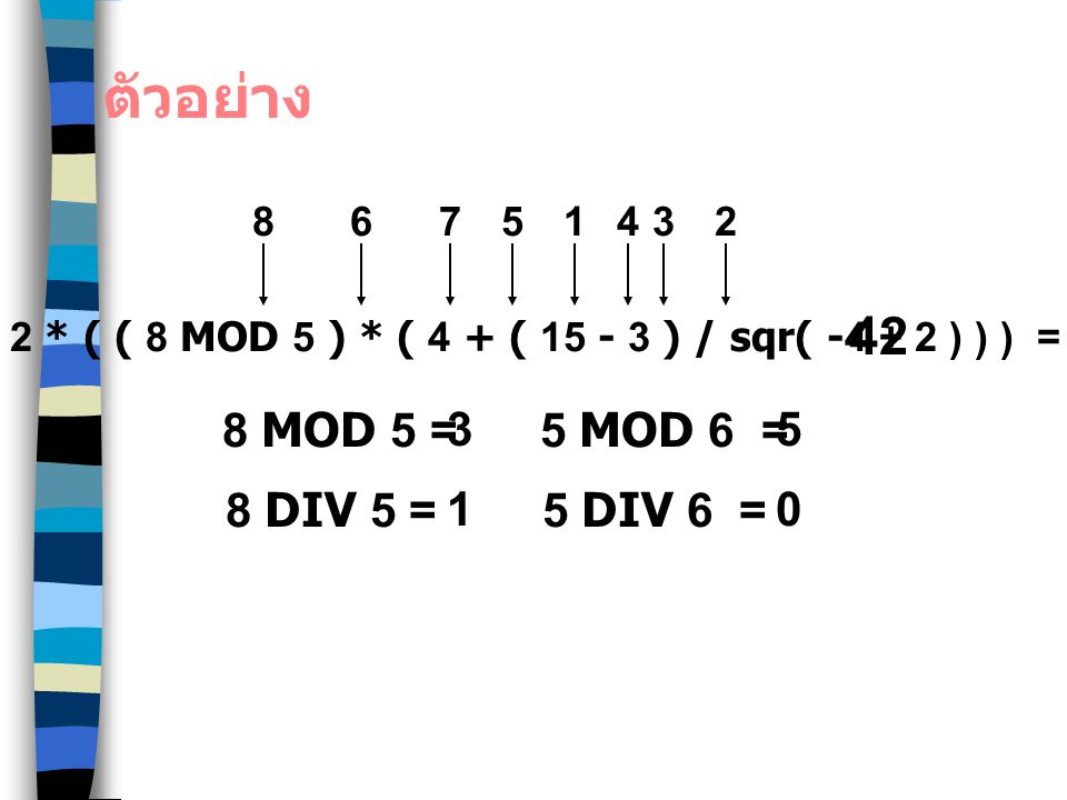 2 * ( ( 8 MOD 5 ) * ( 4 + ( 15 - 3 ) / sqr( -4 + 2 ) ) ) =