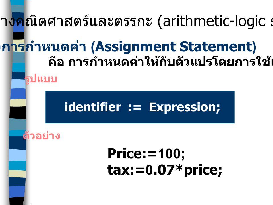 คำสั่งการกำหนดค่า (Assignment Statement)