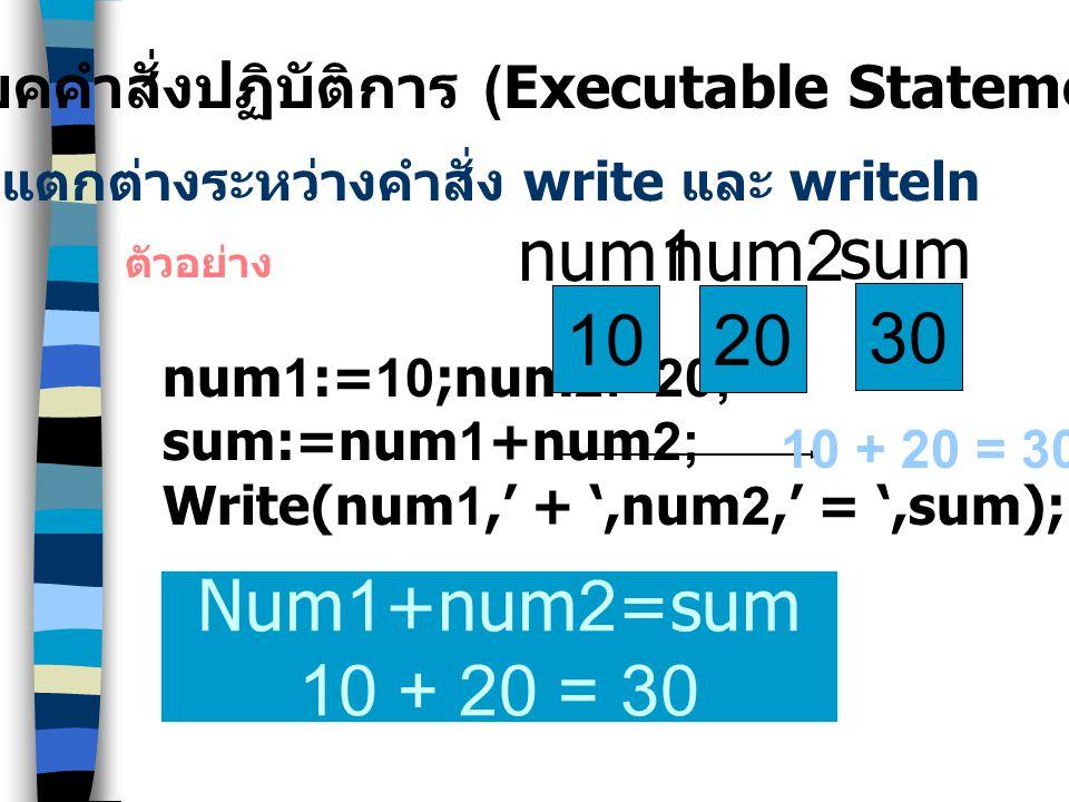 10 num1 20 num2 30 sum Num1+num2=sum 10 + 20 = 30