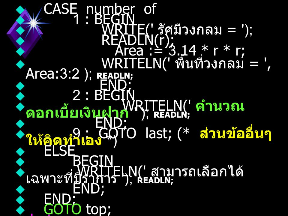 CASE number of 1 : BEGIN. WRITE( รัศมีวงกลม = ); READLN(r); Area := 3.14 * r * r; WRITELN( พื้นที่วงกลม = , Area:3:2 ); READLN;