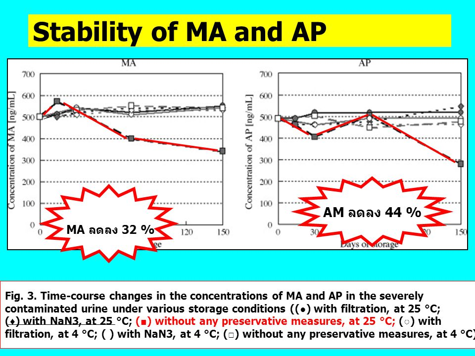 Stability of MA and AP MA ลดลง 32 % AM ลดลง 44 %
