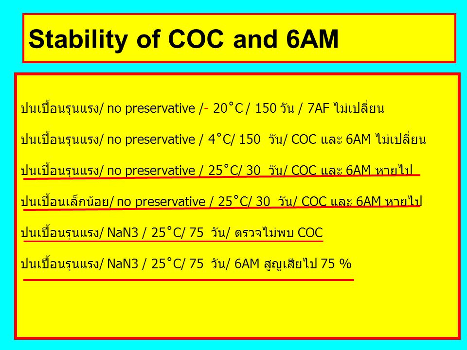 Stability of COC and 6AM ปนเปื้อนรุนแรง/ no preservative /- 20˚C / 150 วัน / 7AF ไม่เปลี่ยน.
