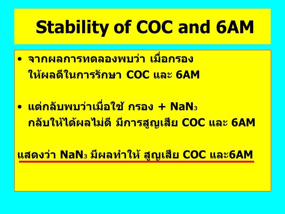 Stability of COC and 6AM จากผลการทดลองพบว่า เมื่อกรอง
