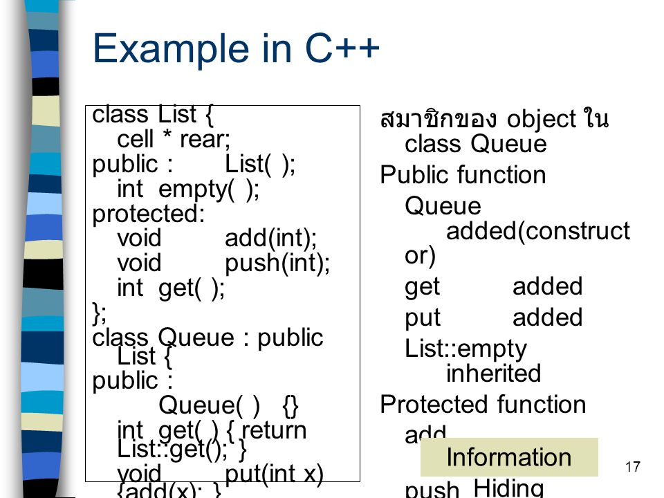 Example in C++ class List { cell * rear; public : List( );
