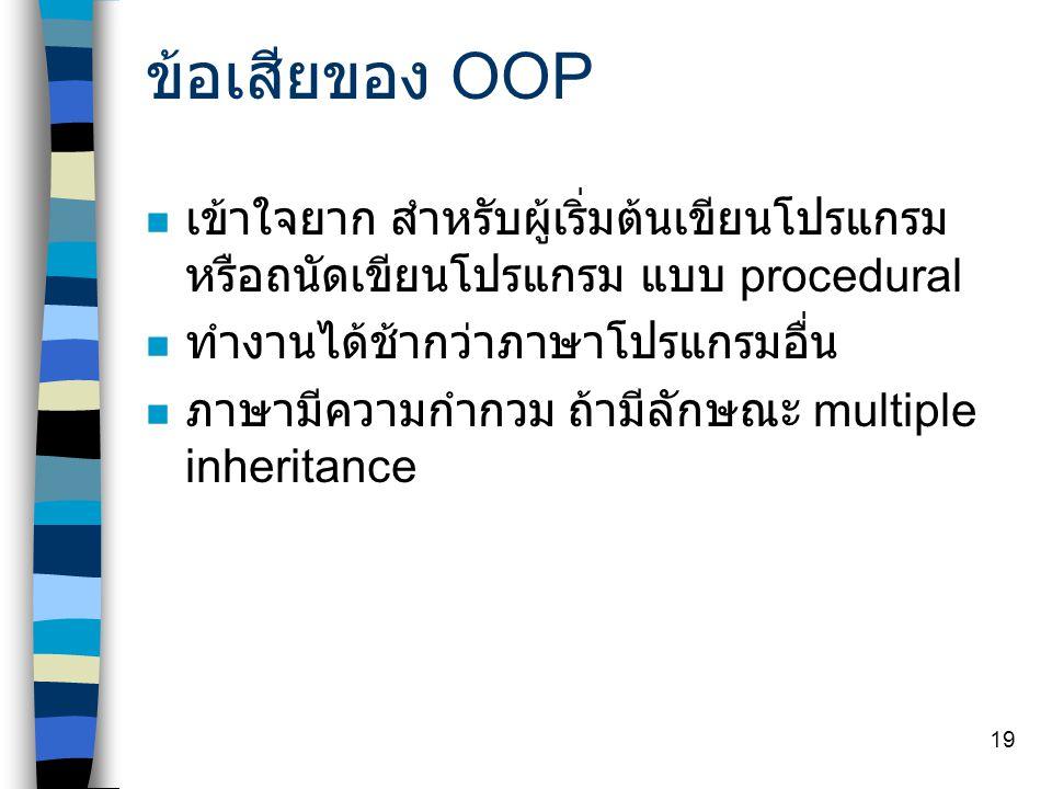 ข้อเสียของ OOP เข้าใจยาก สำหรับผู้เริ่มต้นเขียนโปรแกรม หรือถนัดเขียนโปรแกรม แบบ procedural. ทำงานได้ช้ากว่าภาษาโปรแกรมอื่น.