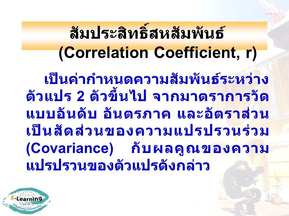 สัมประสิทธิ์สหสัมพันธ์ (Correlation Coefficient, r)