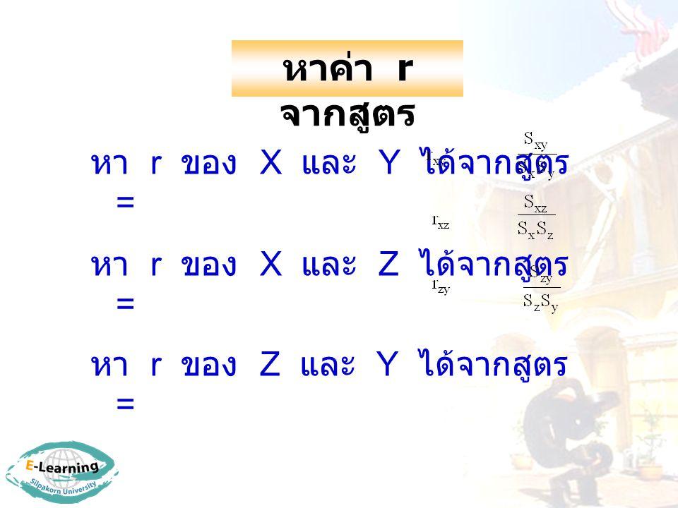 หาค่า r จากสูตร หา r ของ X และ Y ได้จากสูตร =
