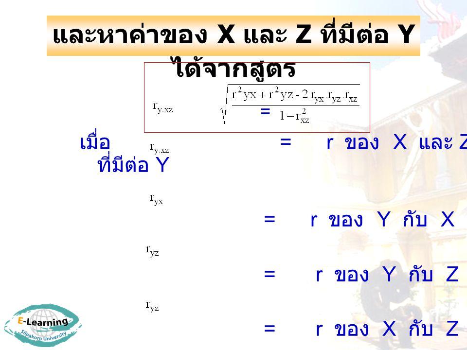 และหาค่าของ X และ Z ที่มีต่อ Y ได้จากสูตร