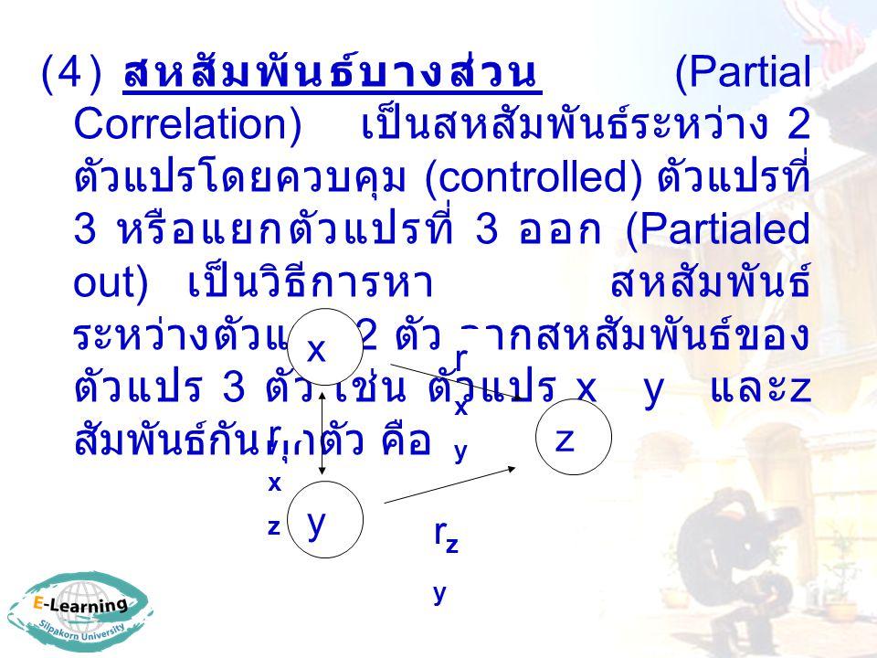 (4) สหสัมพันธ์บางส่วน (Partial Correlation) เป็นสหสัมพันธ์ระหว่าง 2 ตัวแปรโดยควบคุม (controlled) ตัวแปรที่ 3 หรือแยกตัวแปรที่ 3 ออก (Partialed out) เป็นวิธีการหา สหสัมพันธ์ระหว่างตัวแปร 2 ตัว จากสหสัมพันธ์ของตัวแปร 3 ตัว เช่น ตัวแปร x y และz สัมพันธ์กันทุกตัว คือ