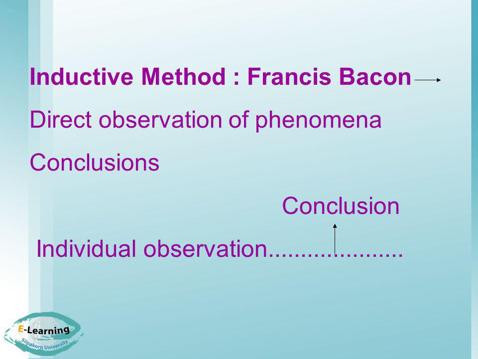 Inductive Method : Francis Bacon