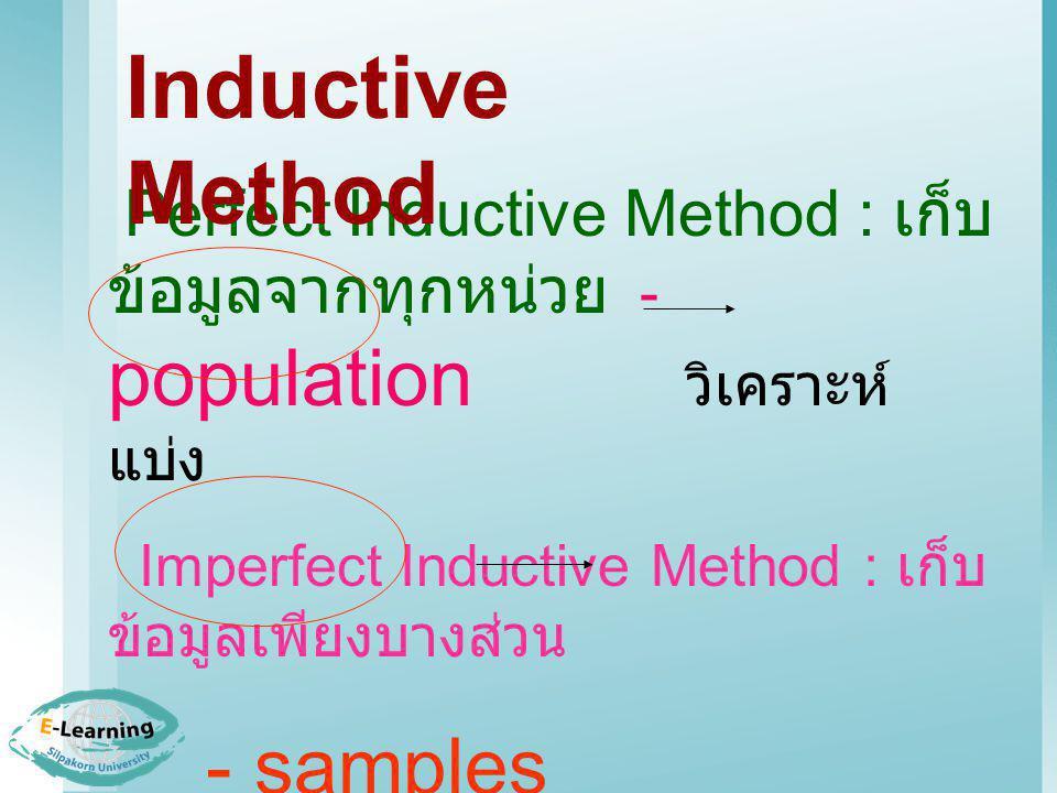 Inductive Method Perfect Inductive Method : เก็บข้อมูลจากทุกหน่วย - population วิเคราะห์ แบ่ง.