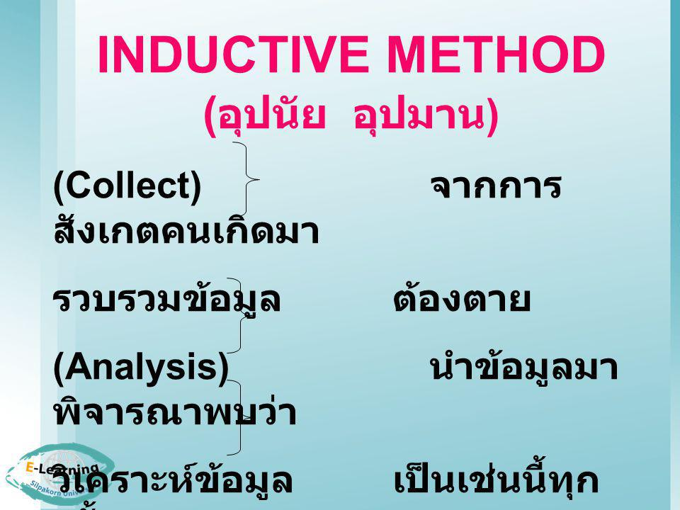 INDUCTIVE METHOD (อุปนัย อุปมาน)