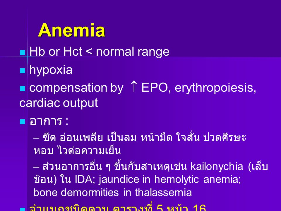 Anemia Hb or Hct < normal range hypoxia