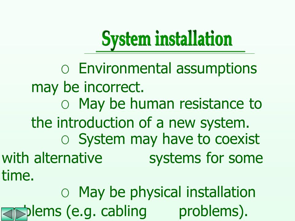 System installation O Environmental assumptions may be incorrect. O May be human resistance to the introduction of a new system.