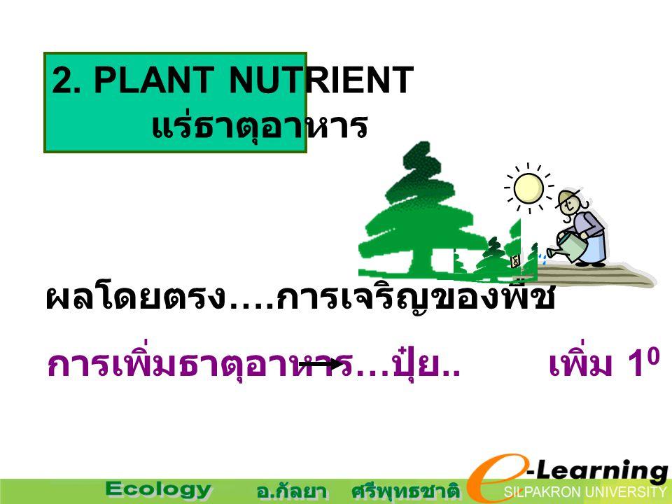 2. PLANT NUTRIENT แร่ธาตุอาหาร. ผลโดยตรง….การเจริญของพืช.