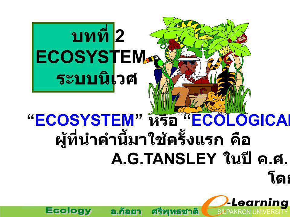 บทที่ 2 ECOSYSTEM ระบบนิเวศ ECOSYSTEM หรือ ECOLOGICAL SYSTEM