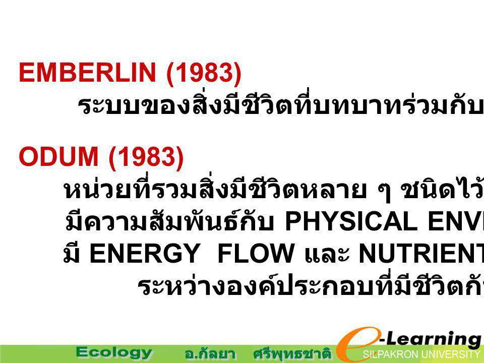 EMBERLIN (1983) ระบบของสิ่งมีชีวิตที่บทบาทร่วมกับสิ่งแวดล้อมที่ไม่มีชีวิต. ODUM (1983) หน่วยที่รวมสิ่งมีชีวิตหลาย ๆ ชนิดไว้ด้วยกันในขอบเขต.