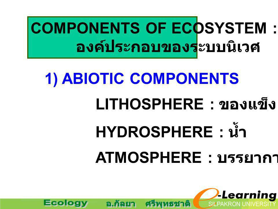 COMPONENTS OF ECOSYSTEM :