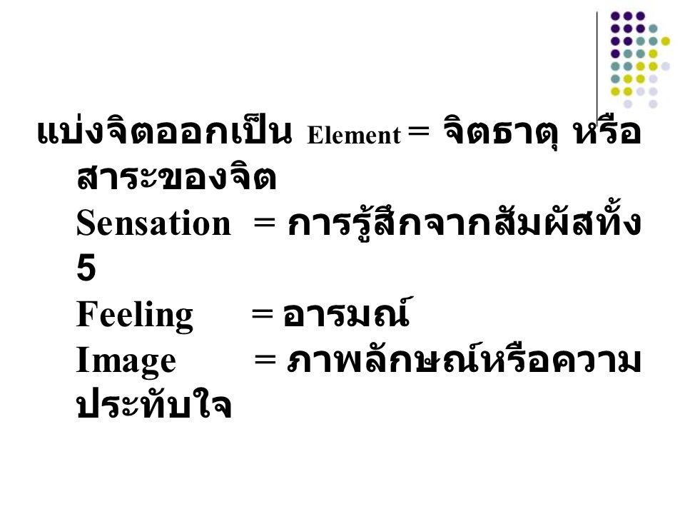 แบ่งจิตออกเป็น Element = จิตธาตุ หรือสาระของจิต