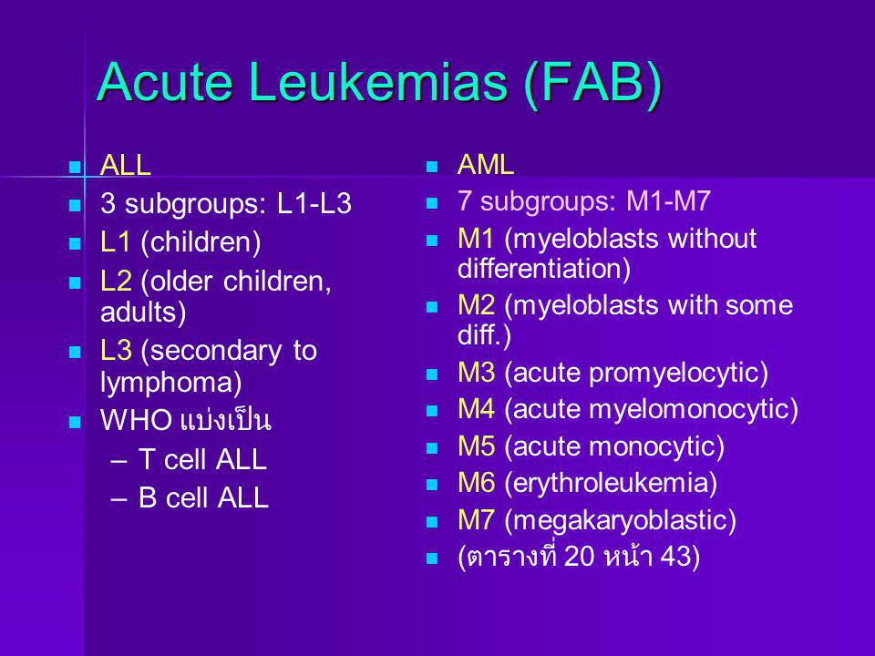 Acute Leukemias (FAB) ALL 3 subgroups: L1-L3 L1 (children)
