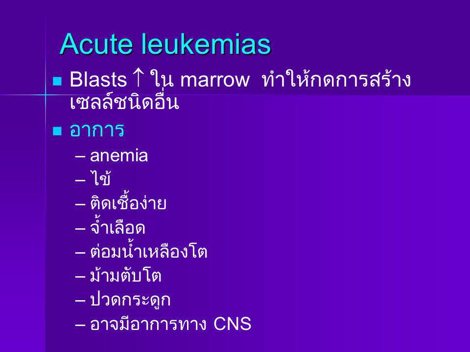 Acute leukemias Blasts  ใน marrow ทำให้กดการสร้างเซลล์ชนิดอื่น อาการ