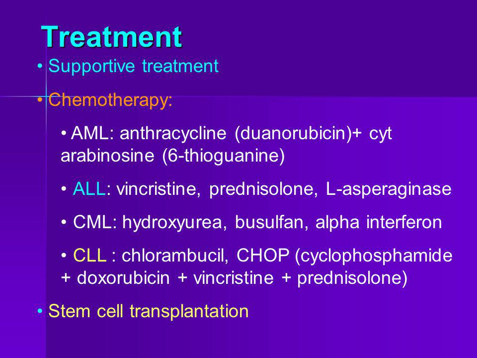 Treatment Supportive treatment Chemotherapy: