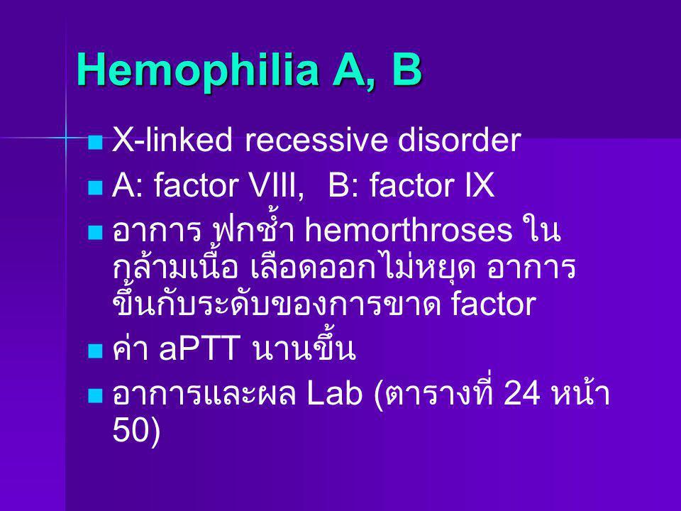 Hemophilia A, B X-linked recessive disorder