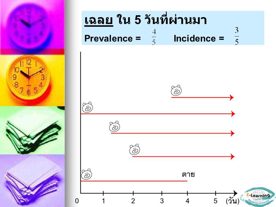 เฉลย ใน 5 วันที่ผ่านมา Prevalence = Incidence =