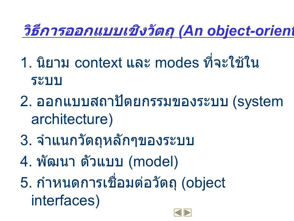 วิธีการออกแบบเชิงวัตถุ (An object-oriented design process)