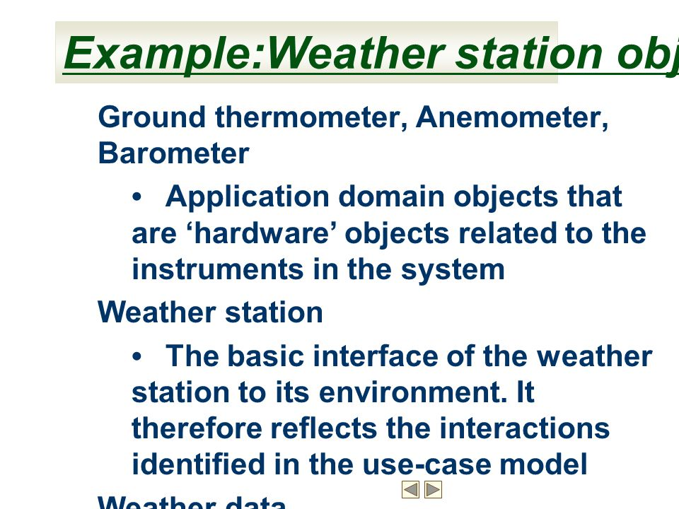Example:Weather station object classes