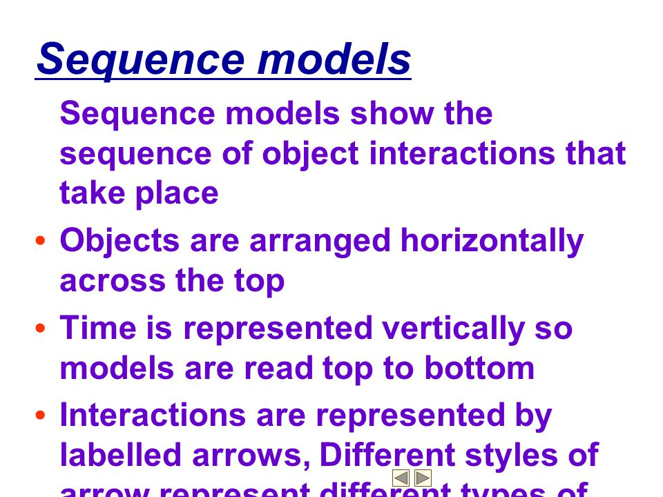 Sequence models Sequence models show the sequence of object interactions that take place. • Objects are arranged horizontally across the top.