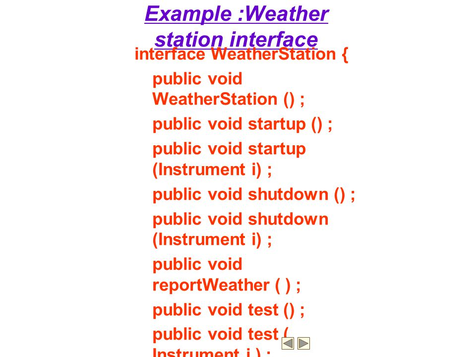 Example :Weather station interface