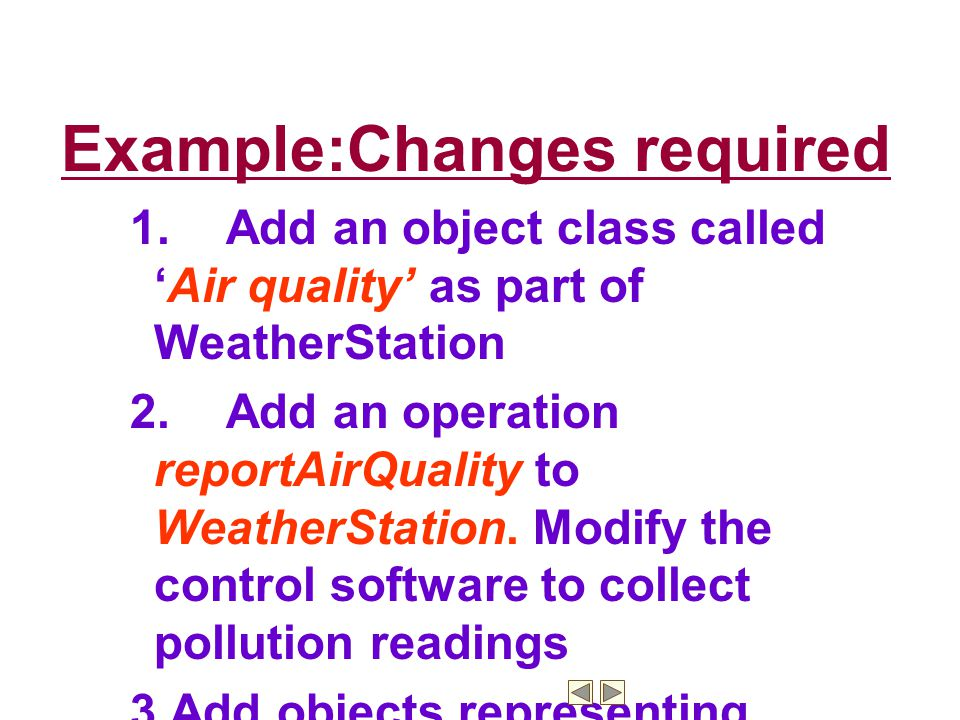 Example:Changes required
