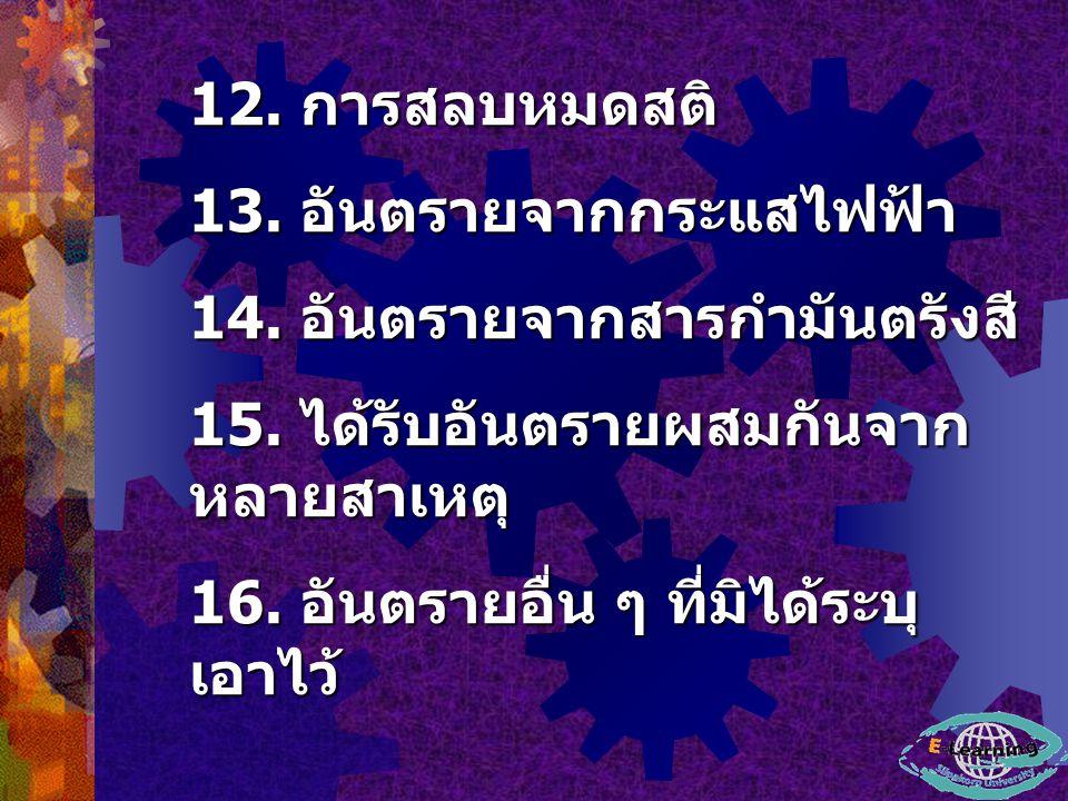 12. การสลบหมดสติ 13. อันตรายจากกระแสไฟฟ้า. 14. อันตรายจากสารกำมันตรังสี 15. ได้รับอันตรายผสมกันจากหลายสาเหตุ