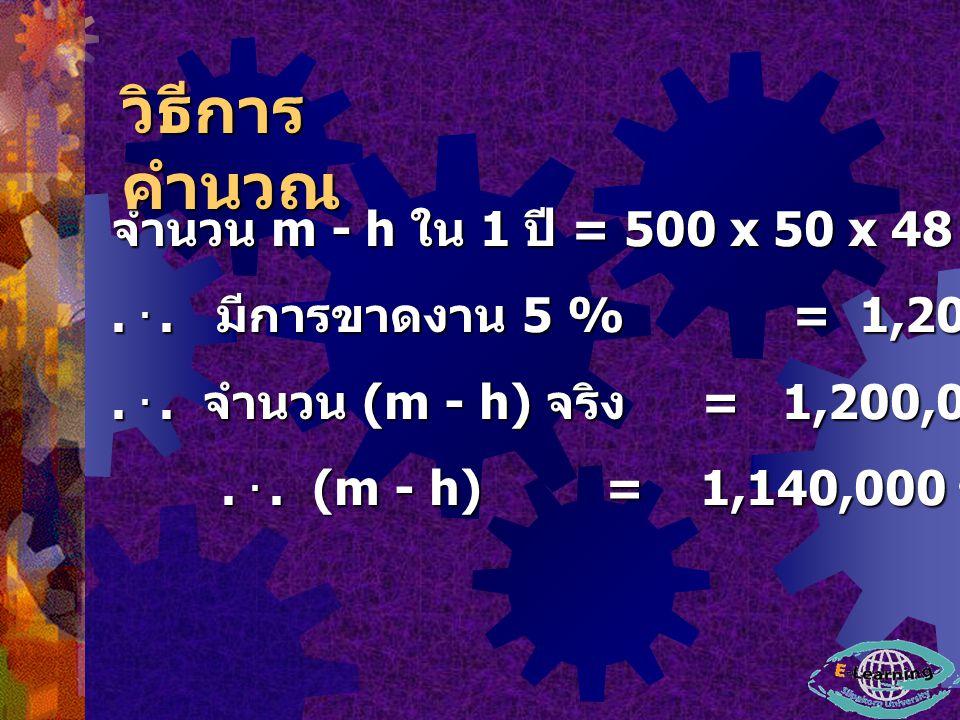 วิธีการคำนวณ จำนวน m - h ใน 1 ปี = 500 x 50 x 48 = 1,200,000 ชั่วโมง-คนงาน. . . . มีการขาดงาน 5 % = 1,200,000 - 0.05 (1,200,000)