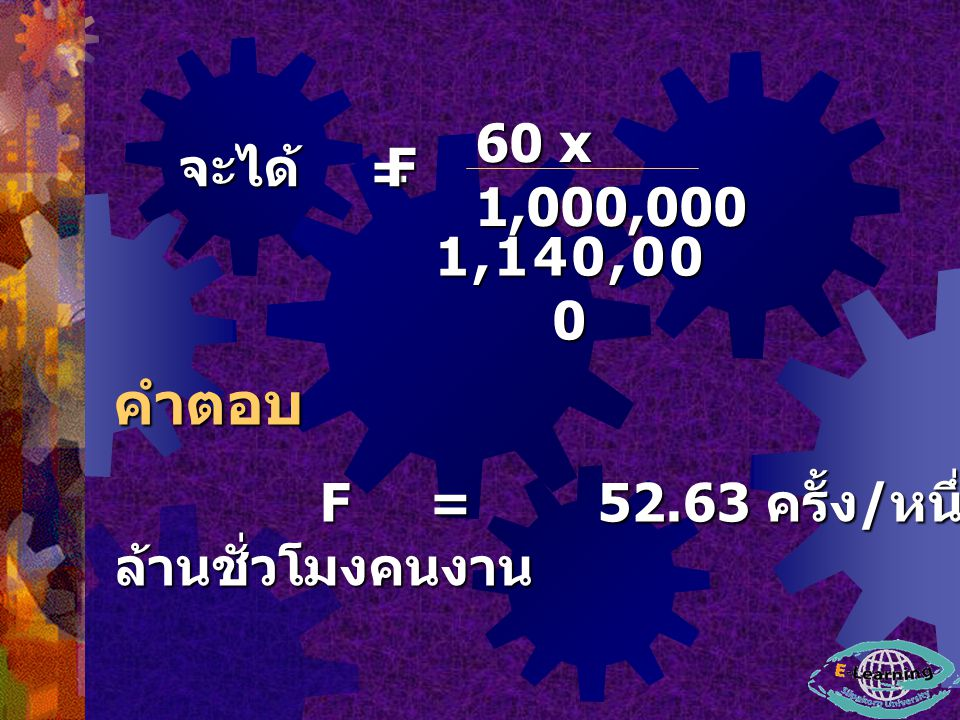 60 x 1,000,000 จะได้ F = 1,140,000 คำตอบ F = 52.63 ครั้ง/หนึ่งล้านชั่วโมงคนงาน