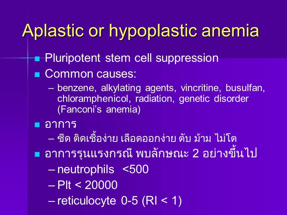 Aplastic or hypoplastic anemia