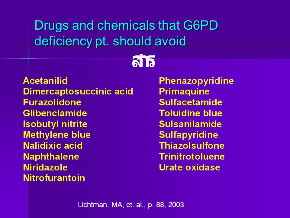 Drugs and chemicals that G6PD deficiency pt. should avoid