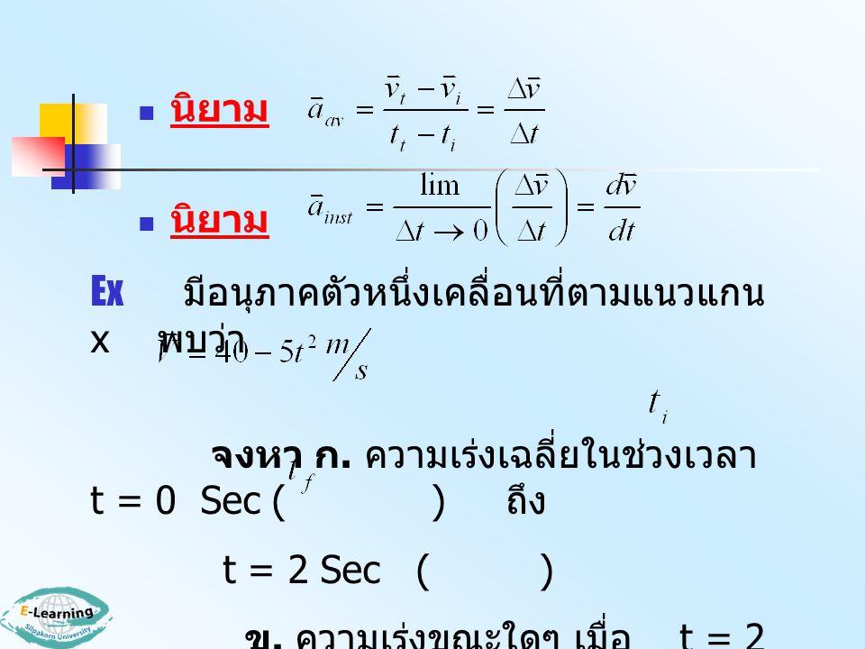 นิยาม Ex มีอนุภาคตัวหนึ่งเคลื่อนที่ตามแนวแกน x พบว่า. จงหา ก. ความเร่งเฉลี่ยในช่วงเวลา t = 0 Sec ( ) ถึง.