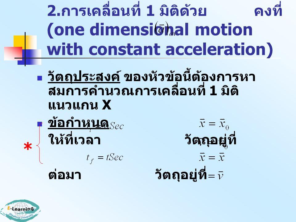 2. การเคลื่อนที่ 1 มิติด้วย